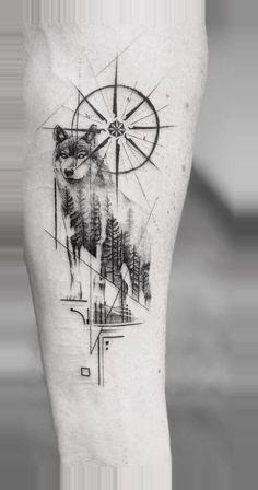 Compass Tattoo Design, Wolf Tattoo Design, Forearm Tattoo Design, Tattoo Design Drawings, Tattoo Sketches, Tattoo Designs, Tribal Wolf Tattoo, Wolf Tattoo Sleeve, Arm Band Tattoo