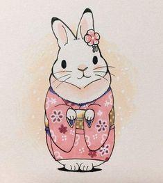 This reminds me so much of abby Rabbit Illustration, Illustration Art, Illustrations, Rabbit Drawing, Rabbit Art, Bunny Art, Cute Bunny, Kawaii Drawings, Cute Drawings
