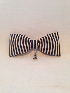 Black & white stripe with Eiffel Tower charm  on Etsy, $9.71