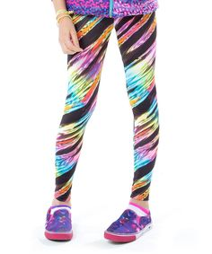 Look at this LittleMissMatched Turquoise & Pink Neon Lights Leggings - Girls on #zulily today!
