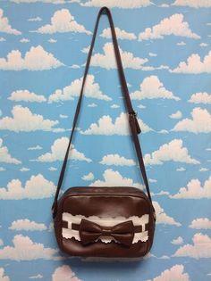 Ladder Ribbon Square Shoulder Bag in Brown from Angelic Pretty - Lolita Desu