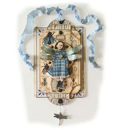 Fairy Child Assemblage, Miniature Collage, Blue Fly Fairy,  Fairy Wings, Mixed Media Art Collage, Fantasy Fairy Artwork