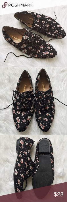 🔮HP🔮 Liliana Black Floral Oxford Flats Super adorable black oxfords with a floral prints. These flats have been gently worn a few times and are still in excellent condition. The Liliana oxfords would best fit a size 7.5-8. ✨Pet friendly home ✨Please feel free to ask any questions! ✨Reasonable offers considered Liliana Shoes Flats & Loafers