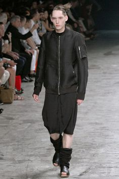 RICK OWENS ISLAND RUNWAY SS13 FLIGHT BOMBER BLACK JACKET US42 IT52