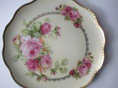 Vintage Eagle China Austrian Pink Rose Serving by jenscloset