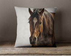Horse Pillow Cover Horses Home Decor Equine by JaclynsStudio