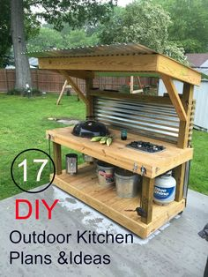 17 Cool DIY Outdoor Kitchen Plans For Backyard BBQ's And Grilling.