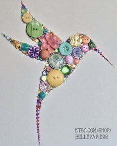 Button Art Swarovski Rhinestone Art Hummingbird Art on Etsy Crafts To Make, Fun Crafts, Arts And Crafts, Stick Crafts, Decor Crafts, Paper Crafts, Diy Buttons, Vintage Buttons, Jewelry Crafts