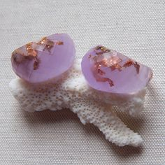 Frosted Purple Copper & Gold Variegated Flakes Resin Rings