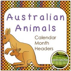 Australian Animals Calendar Month Headers for your pocket chart calendar.  Kangaroo, wombat, cassowary, emu, dingo, koala, platypus and wallaby