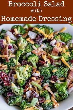 Broccoli Salad with Homemade Dressing is easy to make, perfect for a crowd, and delicious as leftovers. Use real bacon, and char the broccoli for even more flavor. Make this salad a few hours ahead for a dish that everyone will love bacon salad keto Brocolli Salad, Broccoli Cauliflower Salad, Healthy Broccoli Salad, Broccoli Salad With Bacon, Broccoli Salad Recipes, Broccoli Salad With Cranberries, Broccoli Raisin Salad, Healthy Lunches, Vegetarian Recipes