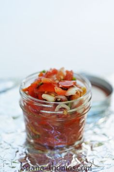 Refrigerator Pico de Gallo - this is a great way to use up your end-of-summer garden produce, like tomatoes and onions. Low-carb, low-fat, sugar-free, THM:FP