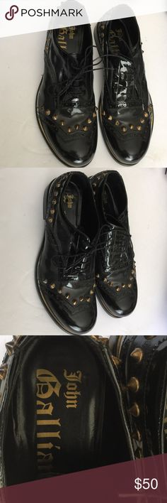 Mens John Galliano patent leather shoes sz 37 Mens patent leather shoes Oxford w studs size 37 black w brushed brass studs worn 1 special occasion John Galliano Shoes Oxfords & Derbys