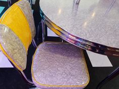 Oval Gray and Yellow Cracked Ice Dinette Set with matching chairs Kitchen Dinette Sets, Retro Furniture, Chairs, Ice, Gray, Yellow, Grey, Stool, Ice Cream