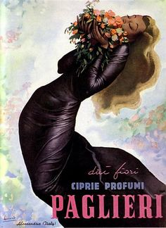 Poster Advertising by Gino Boccasile Ciprie Profumi Paglieri (perfume) Old Advertisements, Retro Advertising, Retro Ads, Advertising Campaign, Old Poster, Poster Ads, Vintage Italian Posters, Vintage Travel Posters, Vintage Labels