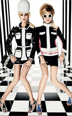 Two identical models looking robotic and lifeless on a Masonic floor + stripes on the wall? Yup, that's MK.
