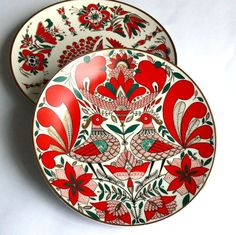 Vintage Decorative Plates, Set of two, Gorgeous Traditional Russian Design, Enamel and Gold, Leningrad Porcelain Plant, From Russia USSR