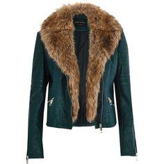 River Island Dark green leather-look faux fur biker jacket ($130) ❤ liked on Polyvore