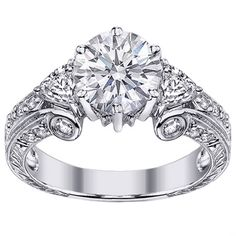 Vintage Style Round Diamond Engagement Ring Setting Pave-Set in 14K White Gold 0.69 tcw.