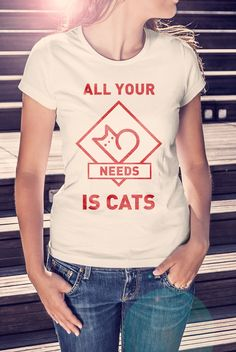 """Футболка """"All your needs is cats""""  1 000 ₽"""