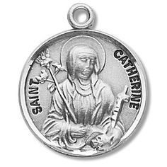 Sterling Silver Round Shaped St. Catherine Medal by HMH | Catholic Shopping .com