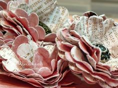vintage look paper flower tutorial using double sided paper & scallop circle punch
