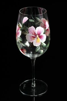 Hand Painted Crystal Wine Glasses l by BFLCreativeDesigns on Etsy