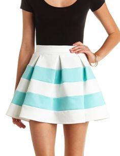Pleated & Striped Skater Skirt: Charlotte Russe