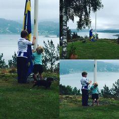 Glad midsommar från oss på villa Essi Barnen hissar svenska flaggan #villaessie #midsommar #svenskaflaggan