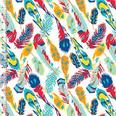 Bold Feathers on White Cotton Jersey Blend Knit Fabric