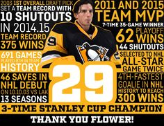 Thank you Flower Pittsburgh Sports, Pittsburgh Penguins Hockey, Pittsburgh Pirates, Pens Hockey, Ice Hockey Teams, Sports Teams, Hockey Stuff, Hockey Puck, Hockey Players