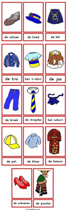 Woordkaarten, thema : kleding (1)