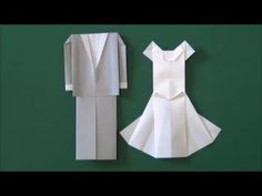 How to fold an Origami Wedding Dress. LPF Origami Kits can be found at Dollar Tree Origami Design, Diy Origami, Origami Swan, Origami Wedding, Origami Dress, How To Make Origami, Useful Origami, Origami Tutorial, Origami Paper