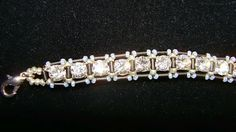 Right angle weave for tennis bracelet using cup chain, 3mm bugles, and size 15 seed beads