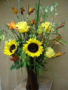 Fall Flower Arrangement w/ Sunflowers