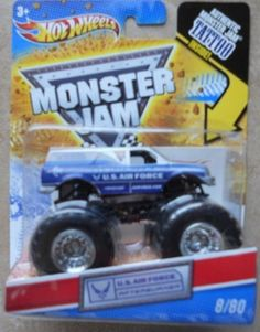 Hot Wheels Monster Jam 2011 Tattoo Series Scale (Small Truck) U. Air Force Afterburner by Mattel Monster Track, Monster Jam, Play Vehicles, Small Trucks, Us Cars, Games To Play, Diecast, Amazon, Toys