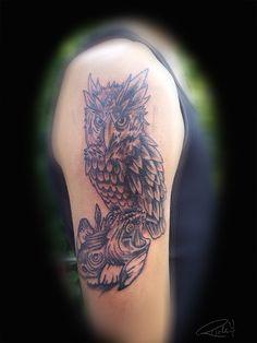 Scary Owl Tattoo Owl tattoo by rickzor1983