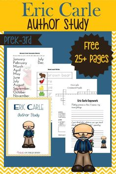 Here's a fun collection of hands-on activities and a FREE 28-page printable to facilitate an Eric Carle Author Study with your K-3 readers. | embarkonthejourne...