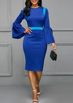 Patchwork Flare Sleeve Back Slit Blue Skinny Dress