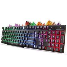 afd55c638e9 104 Key Waterproof Rainbow Backlit Slim LED Backlight Gaming Keyboard PC  Gamer