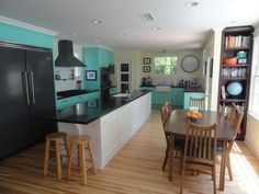 Im thinking about doing teal in my kitchen with white and black and my pink appliances!! What do ya think??