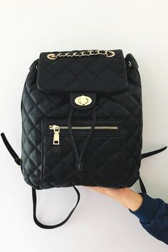 Busy Girl Backpack: Black/Gold