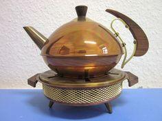 German mid-century modernist teak copper tea kettle & tea warmer post Bauhaus