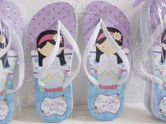 Chinelo Personalizado Tema Festa SPA: A Mamãe Ana (SP) encomendou para o aniversário de sua princesa Gigi 16 Pares de Chinelos Personalizad...