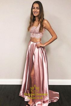 Two pieces long blush pink lace top prom dress sku Prom Dresses Ball Gown Blue, Sparkly Prom Dresses, Elegant Prom Dresses, Prom Dresses With Sleeves, Pink Lace Tops, Blush Pink, Middle, Grey, Light Rose