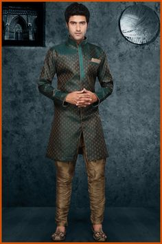 Teal green Brocade Readymade Indo-Western Suit Online Shopping: MTC253