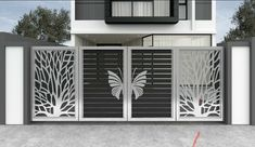Home Gate Design, Front Gate Design, Main Gate Design, Modern Steel Gate Design, Gate Designs Modern, Modern Design, Balcony Glass Design, Window Grill Design, Gate Ideas