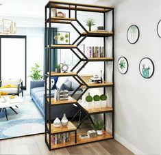 Tieyi living room partition shelf creative shelf display shelf beauty salon cosmetics display cabinet display shelf We believe tattooing can … Welded Furniture, Furniture Decor, Furniture Design, Industrial Bedroom Furniture, Iron Furniture, Space Saving Furniture, Living Room Partition, Room Partition Designs, Partition Walls