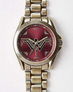 Burgundy Wonder Woman Bracelet Watch – Spencer's Source by dkdevito Wonder Woman Outfit, Spencers Gifts, Sterling Silver Bead Bracelet, Wonder Woman Logo, Women's Accessories, Gifts For Women, Bracelet Watch, Burgundy, Beaded Bracelets