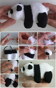 How to Make Panda Amigurumi | UsefulDIY.com The written pattern (in Spanish; use translate) is at this link: http://amigurumilacion.blogspot.com.es/2016/04/oso-panda-amigurumi-tutorial.html ☂ᙓᖇᗴᔕᗩ ᖇᙓᔕ☂ᙓᘐᘎᓮ http://www.pinterest.com/teretegui